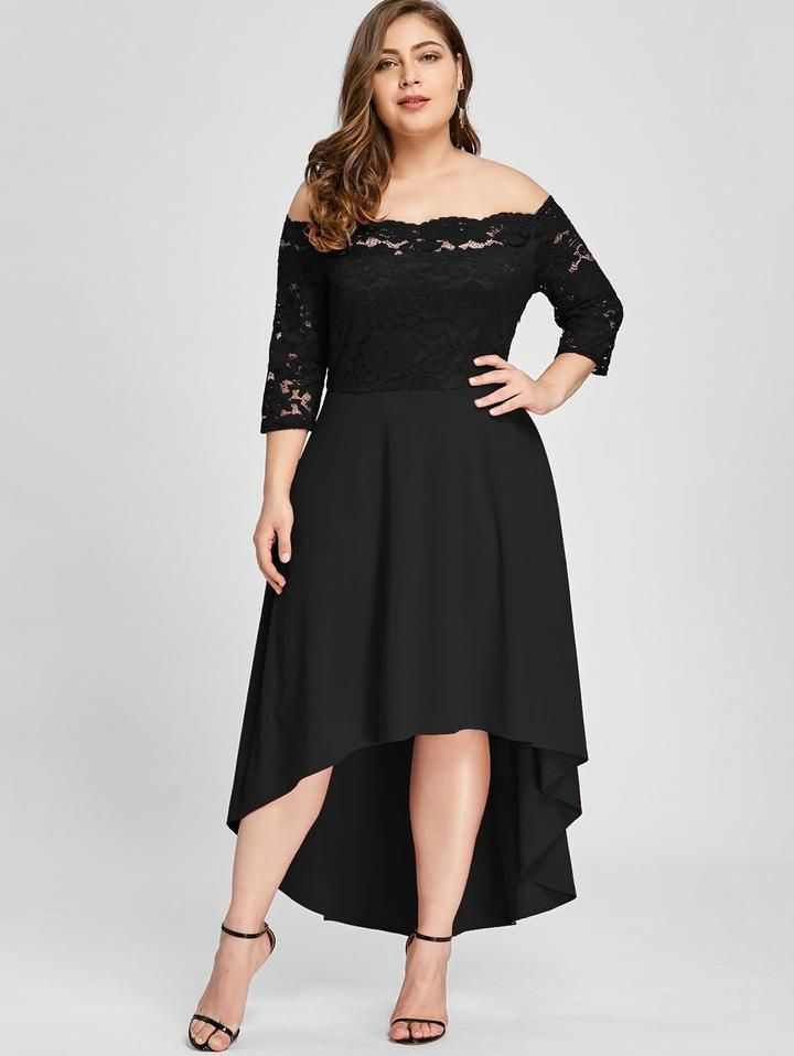 5bb0f58c386 Plus Size Off Shoulder High Low Lace Dip Hem Partty Dress Women Elegant  Dress Asymmetric Maxi Dresses in 2019