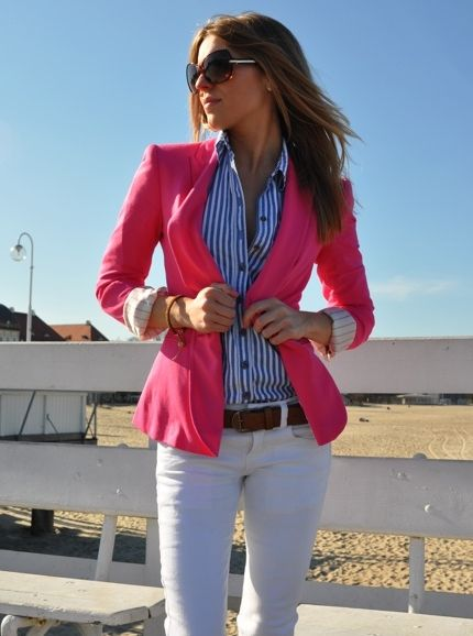 pink, white, & blue: Light Pink Blazers, Hot Pink Blazers, Outfits, Hotpink, Style, Stripes Shirts, White Pants, White Jeans, Business Casual