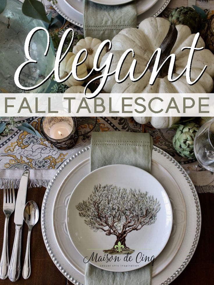 An elegant fall table in greens and creams! Great for any fall occasion or even Thanksgiving!