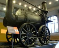 Rail pioneer Timothy Hackworth's Sans Pareil early steam locomotive in Shildon, England