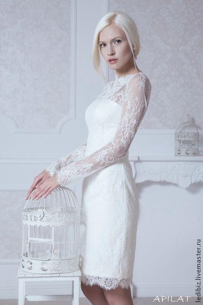 Кружевное короткое свадебное платье М-30. Handmade.
