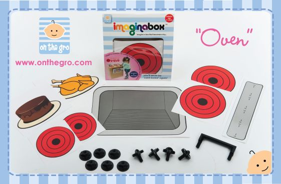 """Imaginabox® Oven – the simple, but practical kit that turns any cardboard box into an oven...hot hot!   Developed to stimulate children's imaginations - all moving plastic parts & stickers are reusable, recyclable and simple to assemble...children will never be """"card-bored"""" again!   Imaginabox® makes a fabulous inexpensive gift that a child can also participate in building. They will LOVE it."""