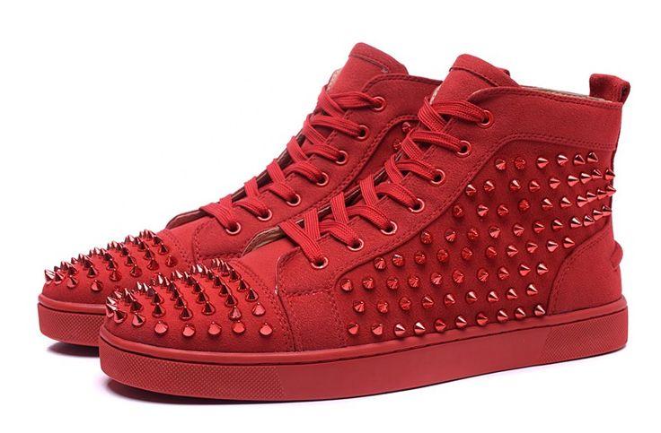 Basket Louboutin Couple Suède Rouge Ongles En Verre Rouge Hautes Chaussures5 #chaussure