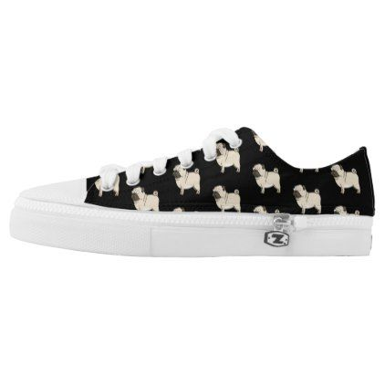 Pug Cartoon Dog Photo Pattern Low-Top Sneakers - patterns pattern special unique design gift idea diy