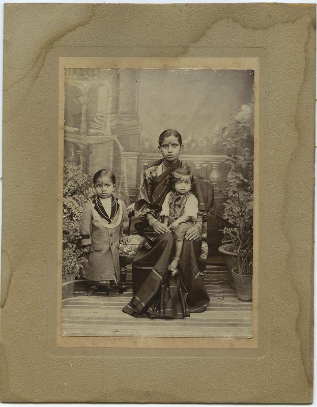 Studio Portrait Of Indian Woman And Children C1900