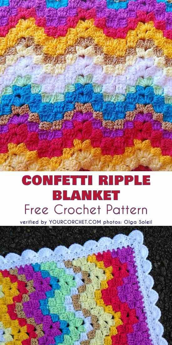 Vintage Rippling Blocks Chevron Baby Blanket Free Pattern