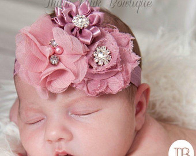 Diadema, diademas de bebé, diadema malva, venda recién, shabby chic diadema de flores, diadema de Pascua, arcos del pelo del bebé, arcos del pelo del bebé