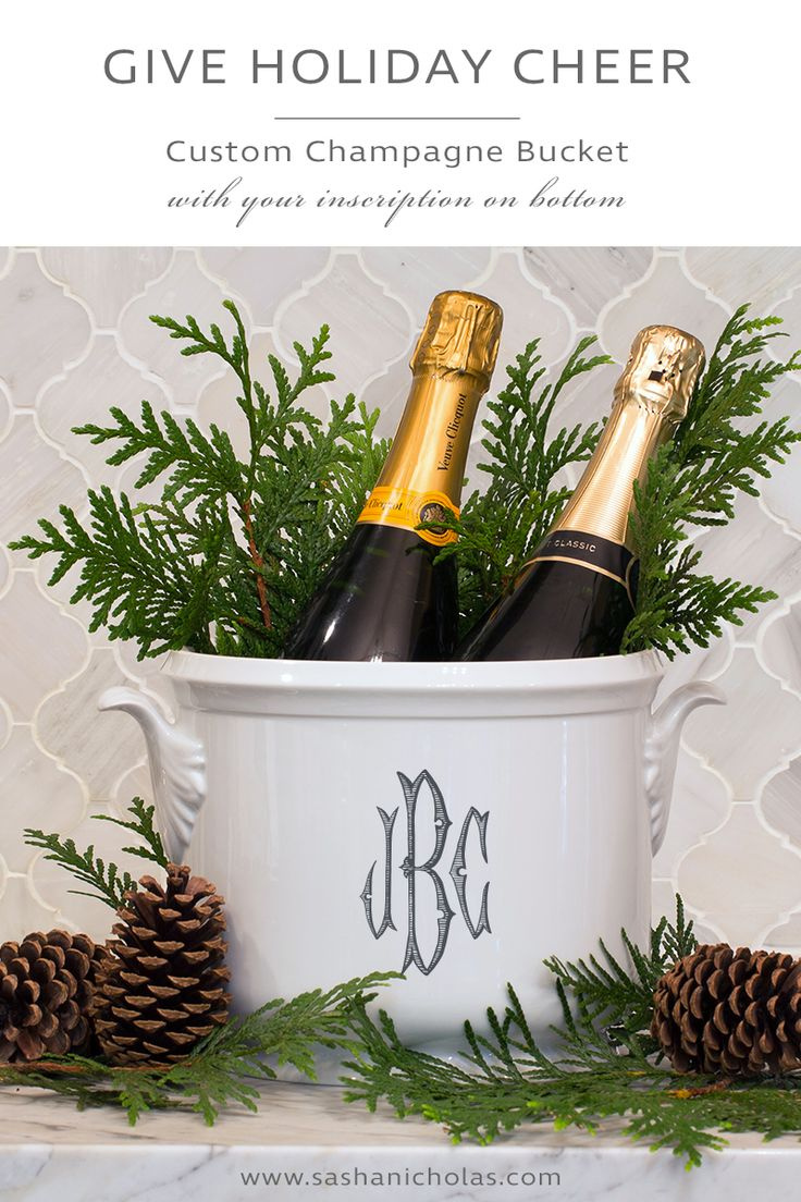 When entertaining over the holidays, chill your party beverages in this beautiful custom monogrammed champagne bucket. Perfect for displaying on your tablescape. Choose from our 5 colors at https://www.sashanicholas.com/shop-all/dinnerware/leaf-handled-champagne-bucket-with-monogram/ | Christmas Entertaining Ideas | Holidays | Tablescapes | Dinnerware | China | Monogrammed | Gift Ideas