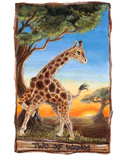 Giraffe print african decor large art print two of for Decorative tarot cards