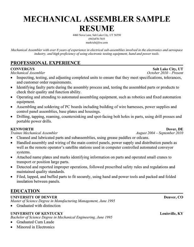 13 best misc images on Pinterest Crafts, Creative and Engine - electronic assembler sample resume