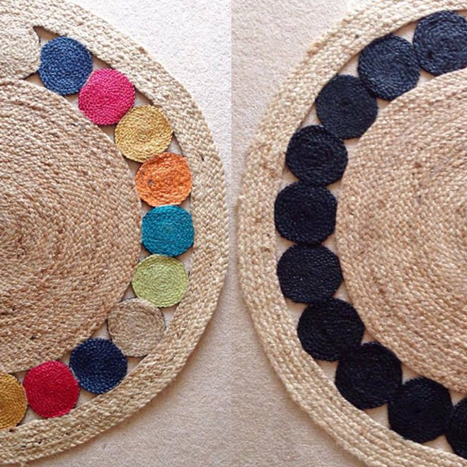 This Colourful Jute Rug Had A Monochrome Makeover This Particular Kmart Rug Was Made Over With Just One Sample Pot Of Kmart Hacks Jute Rug Rug Hacks