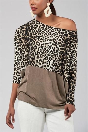 b72bd73f7b0cae Fashion Casualsexy Off The Shoulder Matching Leopard Print Blouses T-Shirt  Brown #leopard #fashiondesign #tshirt #blouse #stylishvovo