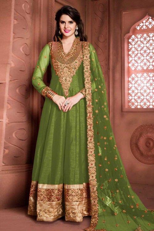 Green Banglori Soie Anarkali Churidar Suit Avec Dupatta en ligne   www.andaazfashion.fr/salwar-kameez/anarkali-suits