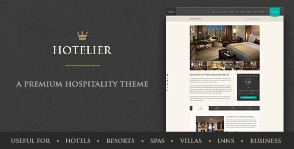 Hotelier - Stylish & Classy Hospitality Template - Travel Retail Hotelier is a thoroughly modern and stylish theme that has its roots as a hotel-related theme, but is flexible enough to be used for multiple purposes: hotels, resorts, inns, bed and breakfast, villas and spas to name a few. It can also be effectively used for many business sectors. The elements are all there and can easily be configured to create your own uniquely beautiful website.