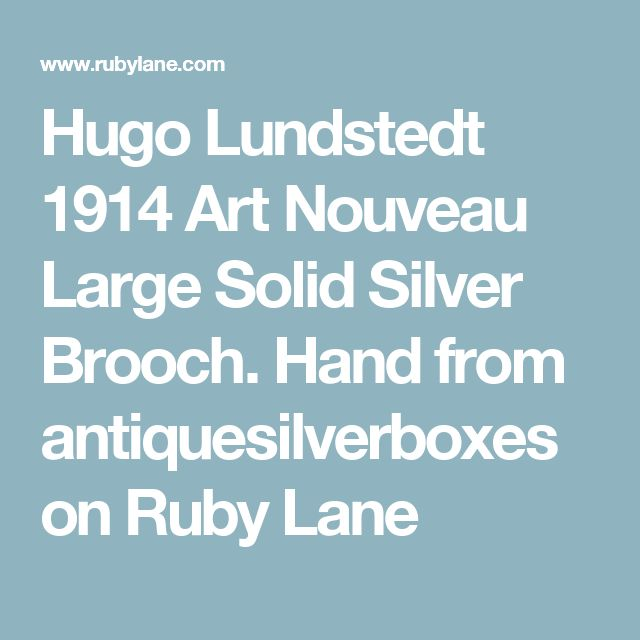 Hugo Lundstedt 1914 Art Nouveau Large Solid Silver Brooch. Hand  from antiquesilverboxes on Ruby Lane