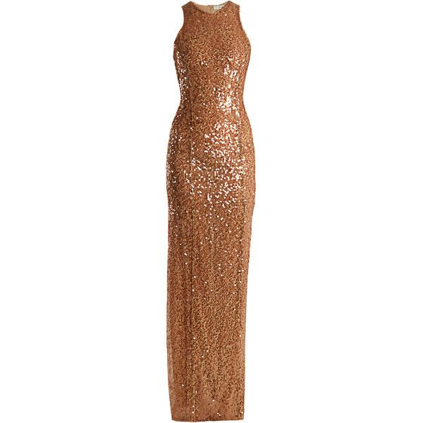 Galvan Sequin-embellished column gown ($1,495) ❤ liked on Polyvore featuring dresses, gowns, gown, nude, metallic evening dress, embroidery dress, glamorous evening dresses, embroidered gown and brown evening gowns