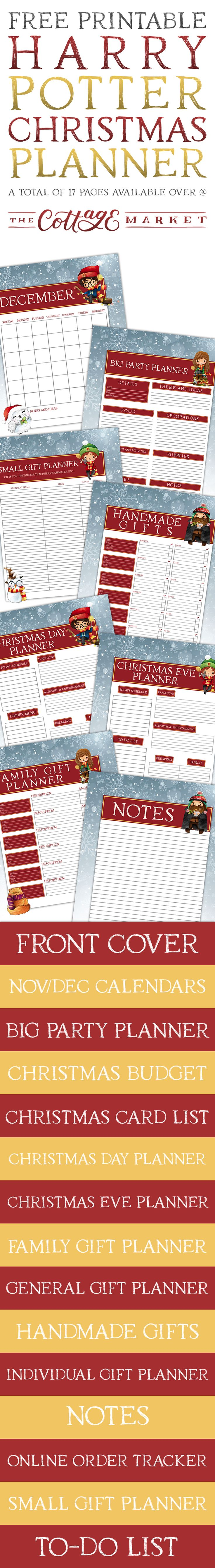 wedding planning checklist spreadsheet free%0A Free Printable Harry Potter Christmas Planner