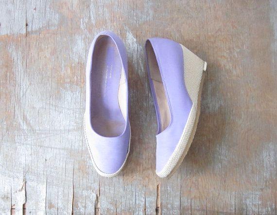 1980s purple wedges / vintage 80s purple espadrilles / canvas wedges  / size 7.5 shoes on Etsy, $34.00