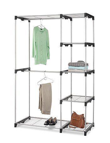 Portable Closet Room Hanging Rods Storage Organizer