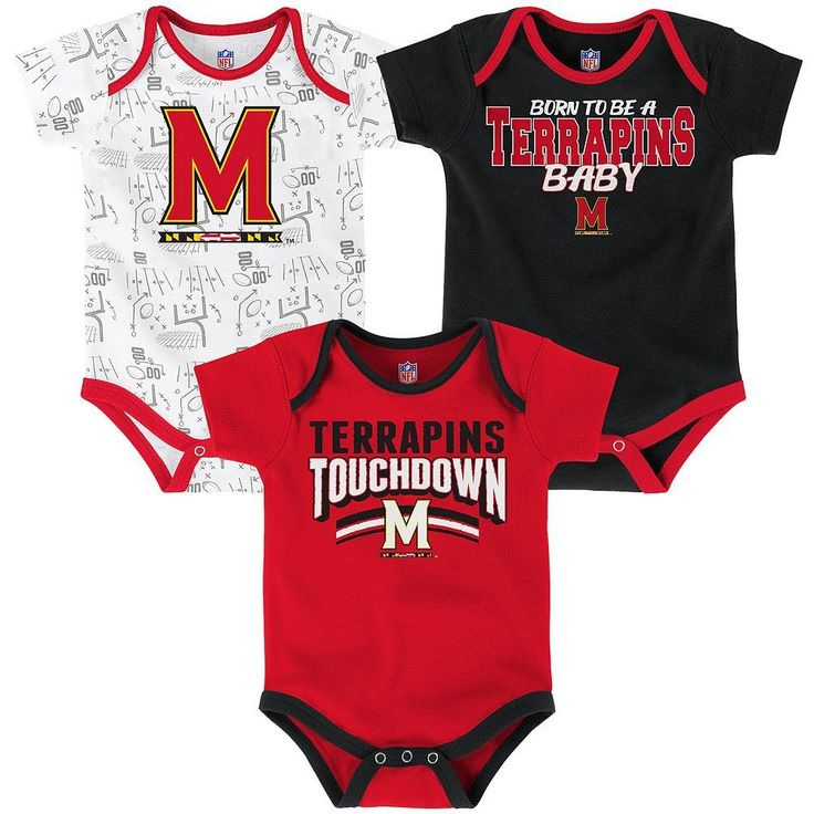 Baby Maryland Terrapins Playmaker 3-Pack Bodysuit Set, Infant Boy's, Size: 0-3 Months, Red