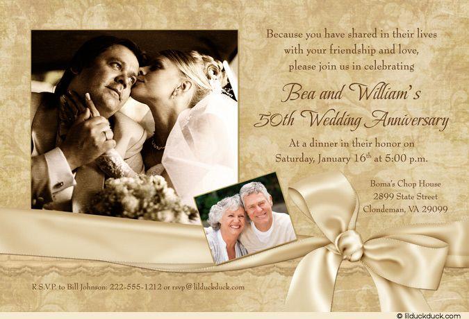Two Photo 50th Anniversary Dinner Invitation - A Celebration of Friendship & Love!