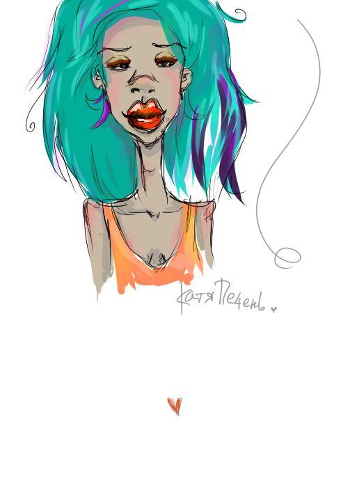 зеленые волосы бирюзовые кудри рыжая майка большие губы рисунок green hair