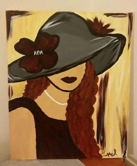 Lambda Lady, Classy and Glamorous: Acrylic painting of lady with burgundy and grey, representing Lambda Theta Alpha Latin Sorority, Inc. Please do not use this photo in any media without photo credit. Thank you!