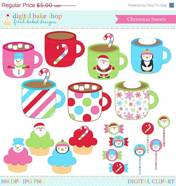 50% OFF SALE christmas clipart clip art hot chocolate candy cupcakes - Christmas Sweets Clipart on Etsy, $2.50