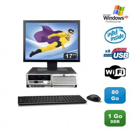 "Lot PC HP Compaq DC7100 SFF Pentium 4 HT 2.8Ghz 1Go DDR 80Go Xp Pro + Ecran 17"""