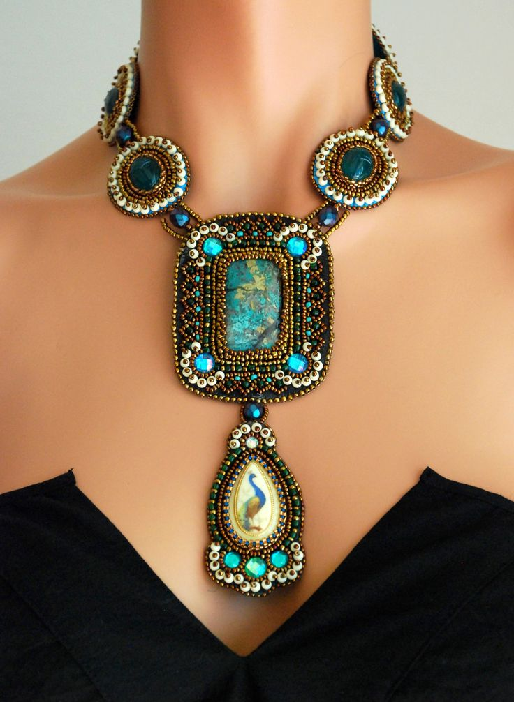 RESERVED FOR CHERRI - Scarabs and Peacock - Statement Necklace, Egyptian Scarab Necklace, Green Beaded Necklace, Glass Bead Embroidered. $165.00, via Etsy.
