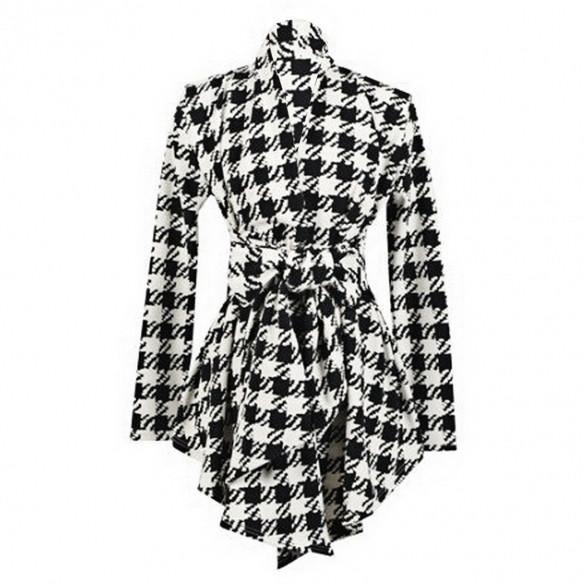 Long Sleeve Ladies Coat Lapel Collar Cardigan Casual Tops Personality Belt Birds Geometry