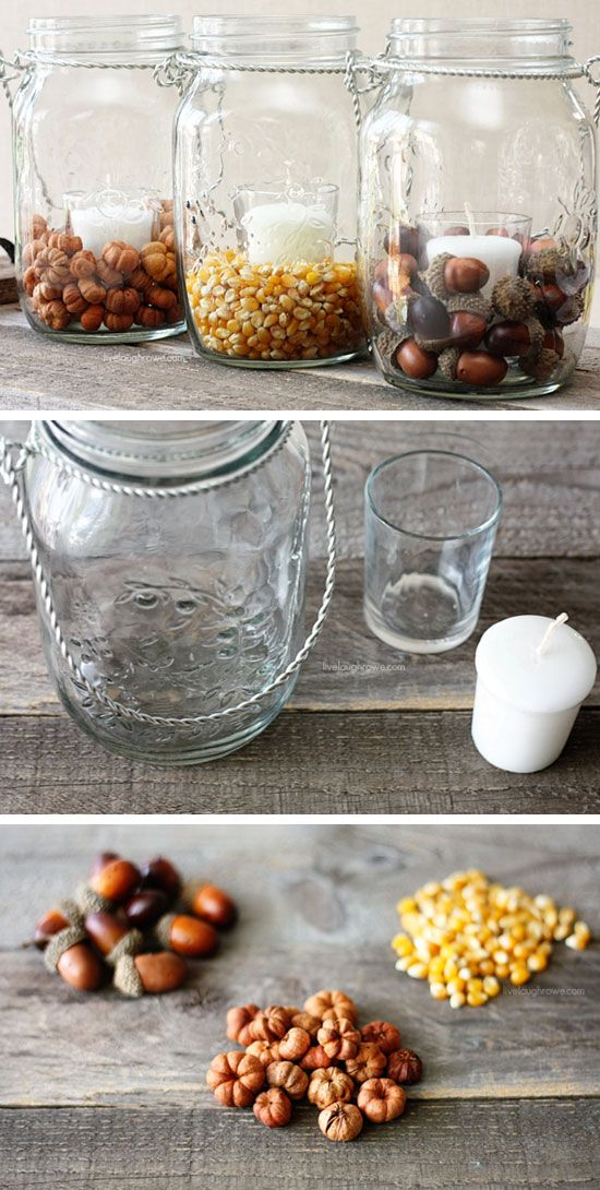 Pottery Barn Inspired Fall Mason Jars | 35 DIY Fall Decorating Ideas for the Home | Fall Craft Ideas for Adults