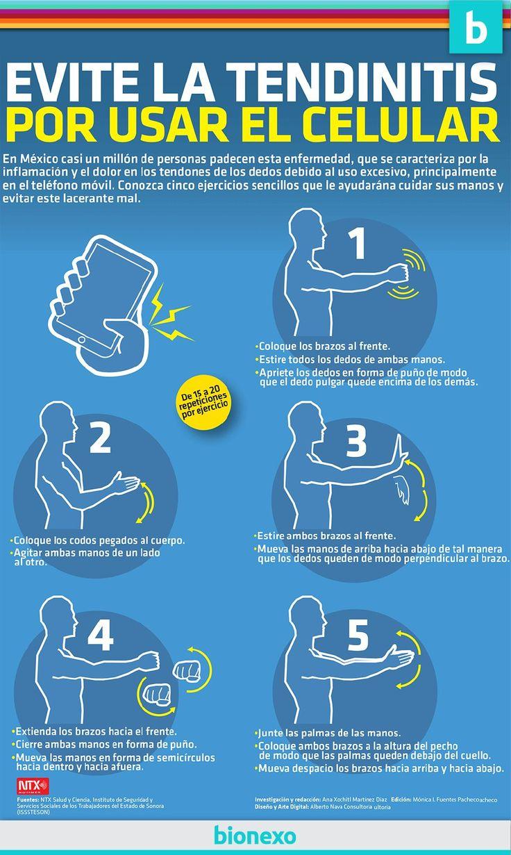 Una infografía con Ejercicios para evitar la tendinitis por el uso del móvil.