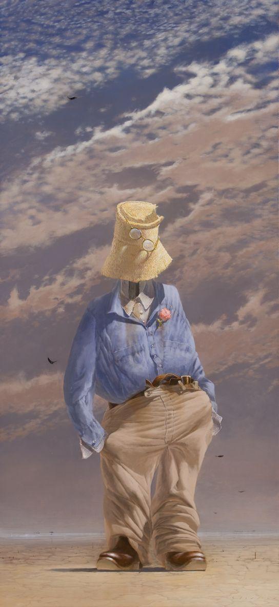 Self portrait (the agent with buttonhole) 2009 acrylic on canvas, 198 x 92 cm Tim Storrier
