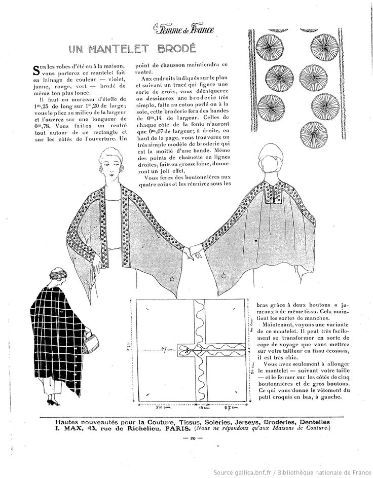 """MANTELET in """"Les Modes de la femme de France"""" (BnF Gallica)"""