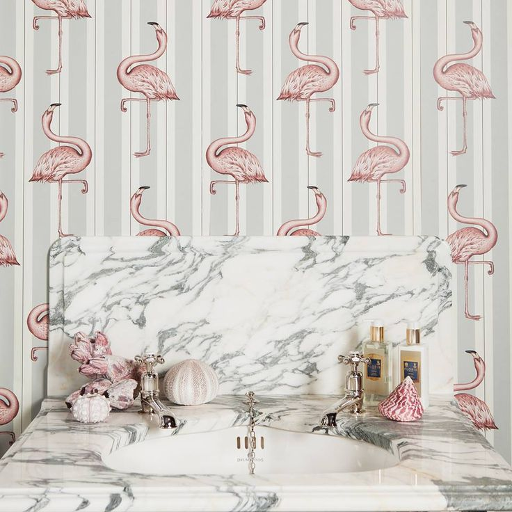 Dream wallpaper bathroom scenario - hello, flamingos.