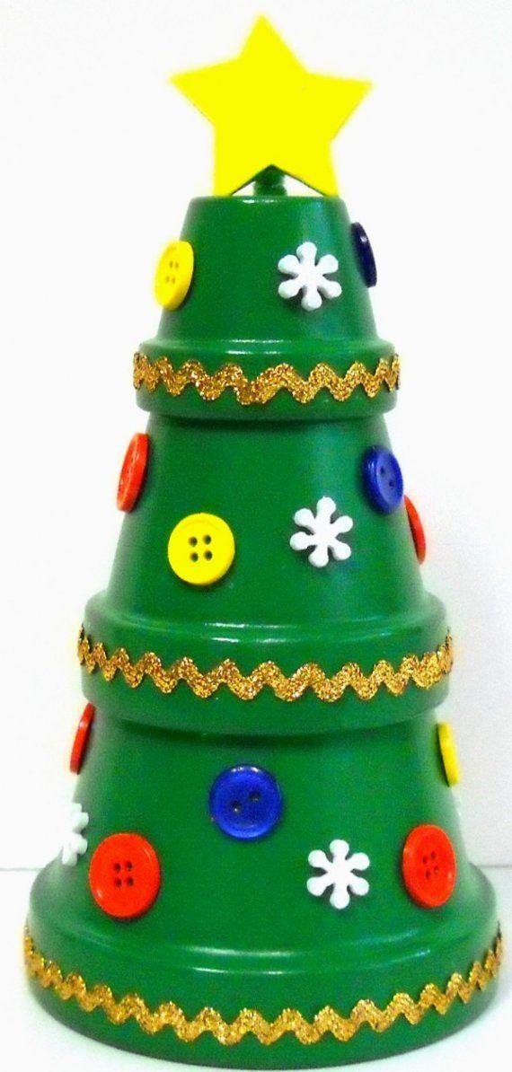Mini pot en terre cuite Arbre de Noël