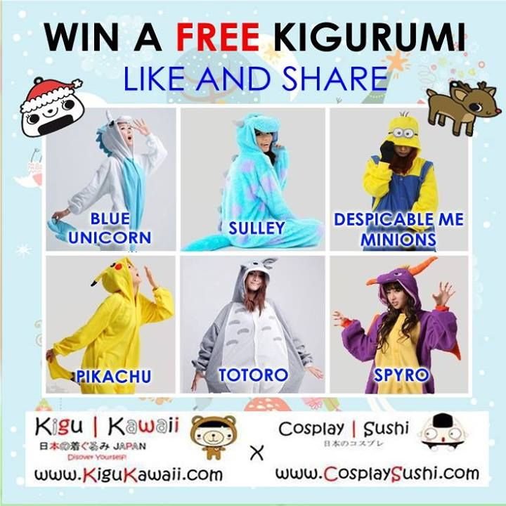 KIGURUMI GIVEAWAY ON A HOLIDAY (。◕‿‿◕。)  Mechanics of the contest :  Want to join in? Here's how!   https://www.facebook.com/photo.php?fbid=267399313408343&set=pb.120382448110031.-2207520000.1388540270.&type=3&src=https%3A%2F%2Ffbcdn-sphotos-a-a.akamaihd.net%2Fhphotos-ak-frc1%2F1486708_267399313408343_1251511511_n.jpg&size=736%2C736