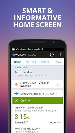 WorldMate Gold v8.0.4   WorldMate Gold v8.0.4Requirements:4.0 and upOverview:WorldMate the world's number one mobile travel app now on Android. Just selected as an Android Market Editors Choice!  Join over 10 million travelers who rely on WorldMate to plan book and manage every aspect of their trips. WorldMate automatically organizes your trips sends you flight alerts recommends great hotels for booking and offers a wide array of other incredible travel services.  Experience the magic of…