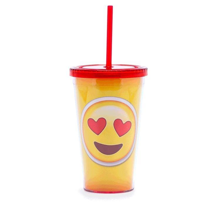 Emoji Apaixonado - Copo com Canudo - Azzurium Decorações e Presentes Criativos