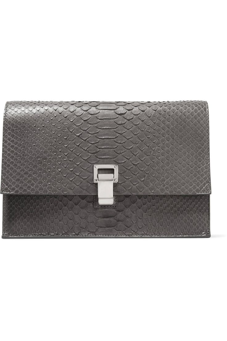 PROENZA SCHOULER Small Lunch Bag Python Clutch. #proenzaschouler #bags #leather #clutch #hand bags #