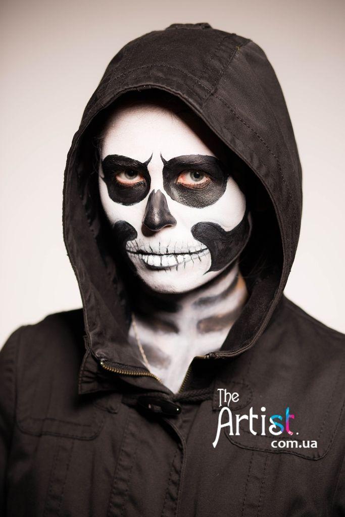 halloween faceart, facepainting http://theartist.com.ua/ Аквагрим Киев, заказать на Хэллоуин, маска на Хеллоуин, грим, страшный макияж, маска скелет.