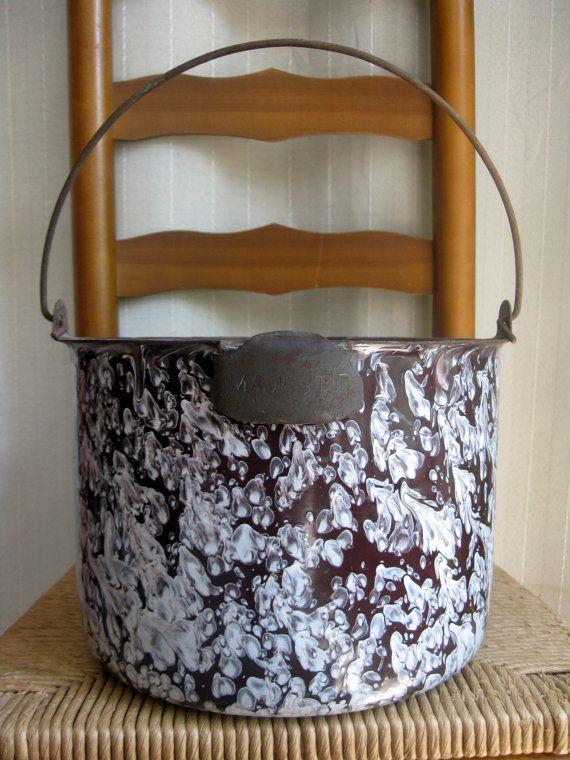 Reserved For Cg114 Vintage Majestic Graniteware Pot Or