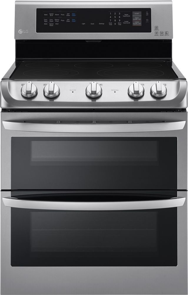 LG - 7.3 Cu. Ft. Electric Self-Cleaning Freestanding Double Oven Range with ProBake Convection - Stainless Steel (Silver)