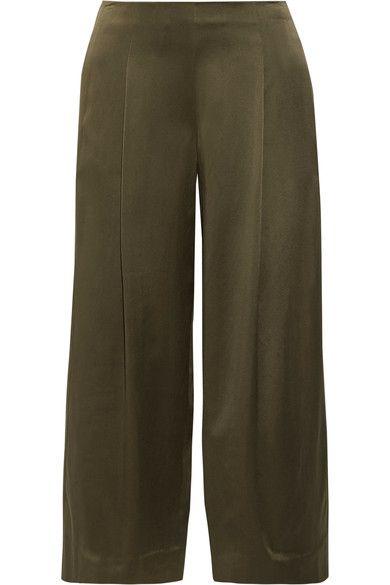 THEORY Zavabell Silk-Satin Wide-Leg Pants. #theory #cloth #pants