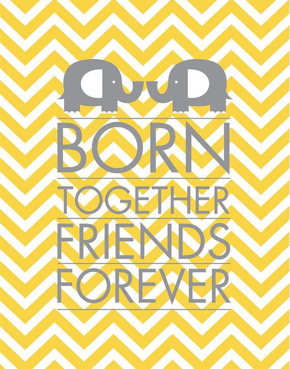 INSTANT DOWNLOAD - Born Together - Chevron Elephant - 8x10 JPEG - Yellow Gray Decor - Baby Nursery Chevron, multiples, twins on Etsy, $9.99
