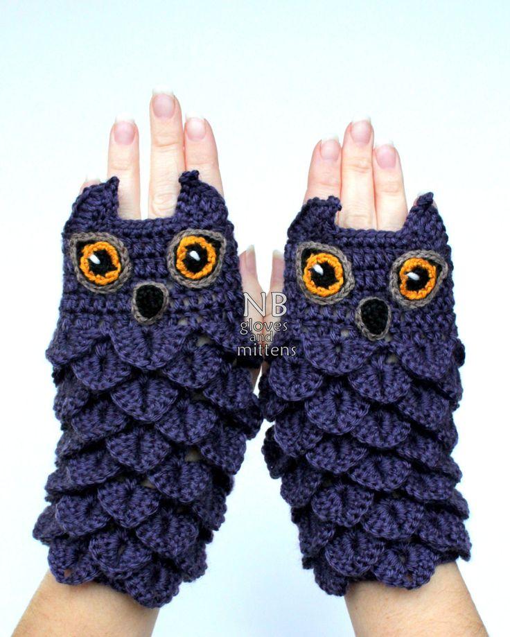 A mano all'uncinetto guanti senza dita gufo di nbGlovesAndMittens