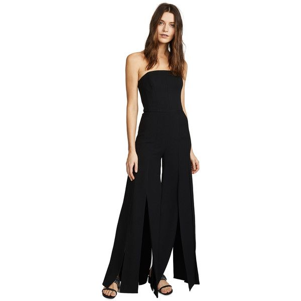 Halston Heritage Strapless Strips Jumpsuit ($480) ❤ liked on Polyvore featuring jumpsuits, black, wide leg jumpsuit, halston heritage, strapless wide leg jumpsuit, jump suit and strapless jumpsuit