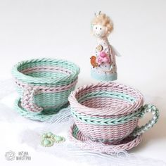 Сладкие чашечки-конфетницы (плетение из бумажной лозы, газет, бумажных трубочек, basket weaving, paper, wicker, kitchen, cute)