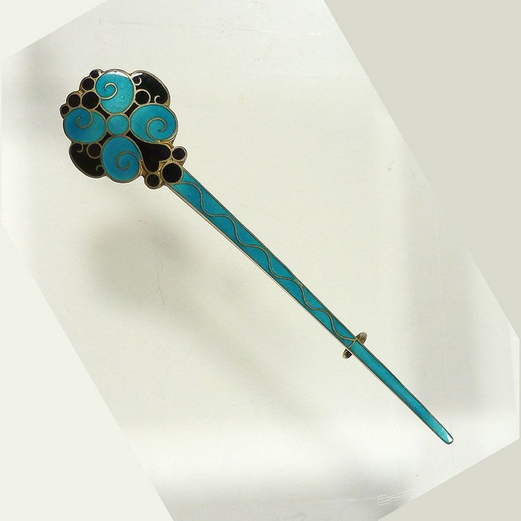 Early 1900's Enamelled Silver Brooch by J. Tostrup, Norway from cellarum on Ruby Lane